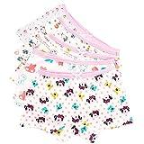 CHIC-CHIC Couleur Random Lot de 5 Fille Bébé Enfant Culotte Pantalon sous-Vêtement en Coton Boxer Slip Motif Mignon Animaux (9-10ans)