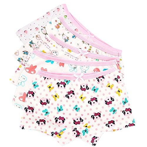 CHIC-CHIC 5 Pack Girls' Cute Cartoon Knickers Boxers Briefs Underwear Shorts Boyshort