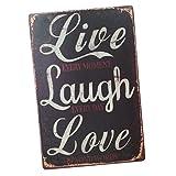 Baoblaze 20X30 cm Schäbige Vintage Metallbild Blechschild Wandkunst für Bar Cafe, Live Love Laugh