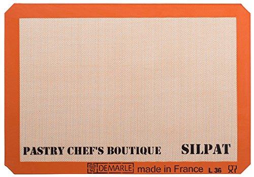 SASA DEMARLE Silpat Premium Antihaft-Silikon-Backmatte, Big Pfanne Größe: (2/3Tabelle Pfanne) für eine 38,1x 53,3cm Tabelle Pfanne-34,5x 49,5cm (Pfanne Backen Silpat)