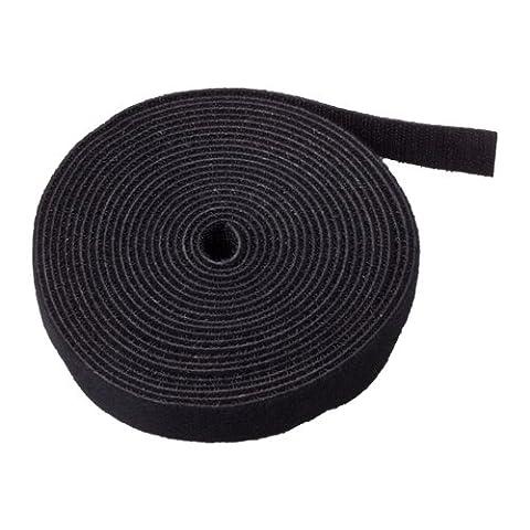 TNP Bande Velcro Sangle Cable Ties Fermeture (Noir) (15pieds)–Sticky Autocollant en nylon Rouleau de tissu Wrap 1,9cm Large 4,6m réutilisable pour personnalisés de coupe Longueur Fil Cordon de fermeture