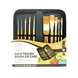 Daler Rowney Simply - Estuche y pinceles para pintura acrílica (pelo sintético), color dorado