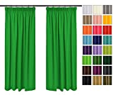 Rollmayer 2er Pack Vorhänge mit Bleistift Kollektion Vivid (Grün 25, 135x175 cm - BxH) Blickdicht Uni einfarbig Gardinen Schal für Schlafzimmer Kinderzimmer Wohnzimmer 2 Stück