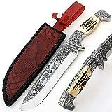 PAL 2000sbag-9403Incroyable oeuvre d'art Totale Travail à Main gravé sur Le Couteau d 2en Acier avec Le même Design comme Gaine en Cuir Lame de Haute qualité Collection Couteau