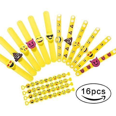 Gummi Armbänder, Emoji Slap Armbänder Party Spielzeug, Kinder Party Mitgebsel Kindergeburtstag, Funny Kinder Geburtstag Partygast Rückkehr Geschenke, 16 Pack in 3