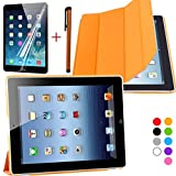 Coastcloud Ultra Slim Edles iPad 2/3/4 Hülle - Smart Cover Leder Case Schutz Hülle Tasche + Back Case - inkl. Displayschutzfolie Reinigungstuch Stift mit Multi Ständer Auto Sleep Wake (ipad 2/3/4 Farbe:orange)