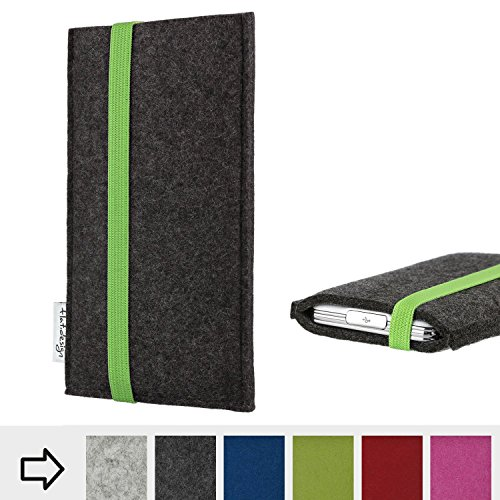 flat.design Handy Hülle Coimbra für bea-fon SL820 handgefertigte Handytasche Filz Tasche fair grün dunkelgrau