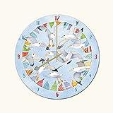 Emma Ball Petite Horloge Murale Décoration Marine–Mouette Bord de mer fanions Horloge–18cm