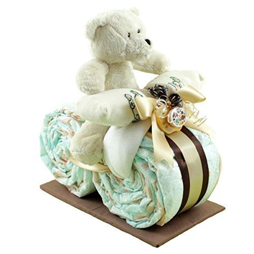 """★ Kleines Windelmotorrad""""Schmusebärle"""" ★ (Braun) Ein tolles Geschenk zur Geburt, Babyparty oder Taufe. Windeltorte"""