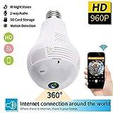 HD 360 Degree gran angular Fisheye Wireless Wi-Fi LED bombilla Panorámica Home...