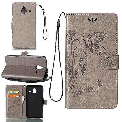 pinlu Schutzhülle Für Microsoft Lumia 640 XL Dual-SIM Handyhülle Hohe Qualität PU Ledertasche Brieftasche Mit Stand Function Innenschlitzen Design Schmetterling Gras Muster Grau