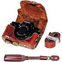 First2savvv XJPT-G5X-10S10 Funda Cámara cuero de la PU cámara digital bolsa caso cubierta con correa para Olympus pen Canon PowerShot G5X marron oscuro + Correa de la camara