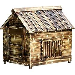 Al aire libre medio de madera de la perrera sólido perro lluvia sol protección perro casa cómodo gato Nido mascota casa-Caseta de perro de la perrera: 70* 61* 70cm