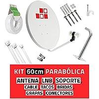 Diesl.com - Kit Parabólica 60cm + LNB + Soporte + 25 Metros de cable + Tacos a pared + Conectores + 10x Bridas- Con mejor calidad-precio del mercado. Válido para captar Astra 19,2ºE