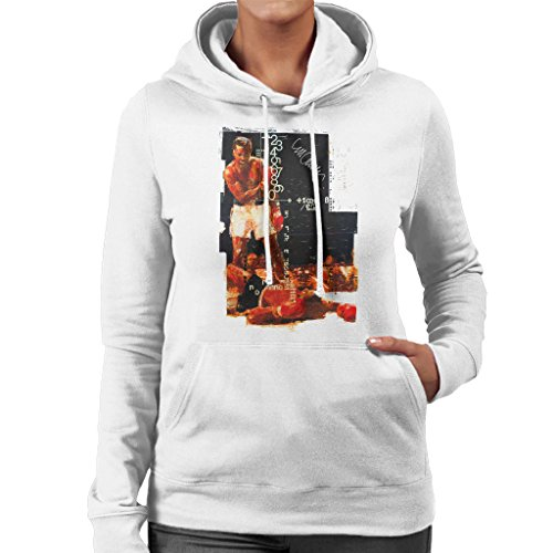 Sidney Maurer Muhammad Ali Sonny Liston Knockout Official Womens Hooded Sweatshirt white