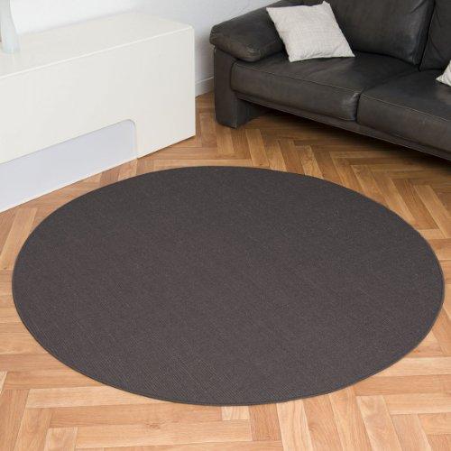 havatex: Sisal Teppich Trumpf Grau rund / hypoallergene Naturfaser / schadstoffgeprüft pflegeleicht schmutzabweisend robust strapazierfähig / ideal für Wohnzimmer Schlafzimmer Kinderzimmer Flur, Größe Auswählen:180 cm rund