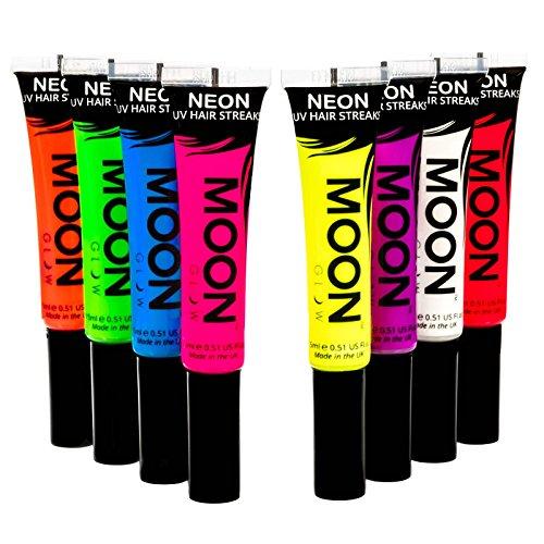 UV-Haar-Farbsträhnchen15mlSet mit 8 Farben-ein spektakulär glühender Effekt bei UV- und Schwarzlicht! ()