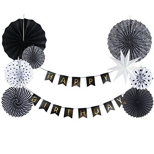 SUNBEAUTY HAPPY BIRTHDAY Girlande Schwarz Weiß Gold Papier Deko Fächerdekoration Set (Deko Set)