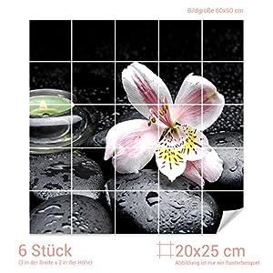 Graz Design 765152_20x25_60 Fliesenaufkleber Steine und Lilie | Bad-Fliesen mit Fliesenbildern überkleben (Fliesenmaß: 20x25cm (BxH)//Bild: 60x60cm (BxH))
