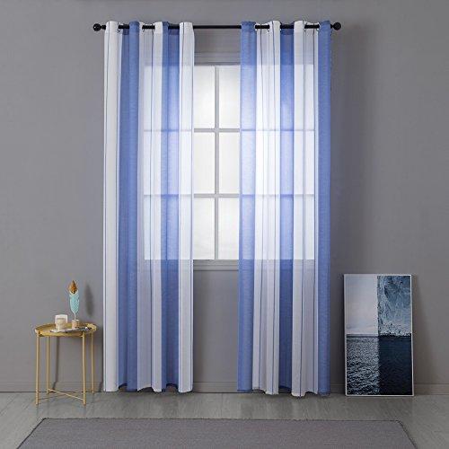 Miulee lino voile tenda finestra con occhielli tenda a pannello tende a vela trasparente per soggiorno e camera da letto 2 pezzo set bianco+blu 140 * 260cm