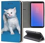 Samsung Galaxy S3 / S3 Neo Hülle Premium Smart Einseitig Flipcover Hülle Samsung S3 Neo Flip Case Handyhülle Samsung S3 Motiv (1556 Katze Kätzchen Weiß Blau Süß)
