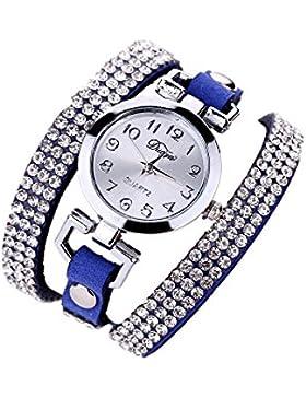 Sunnywil Frauen Casual Armband PU Leder Diamant Armbanduhr Blau