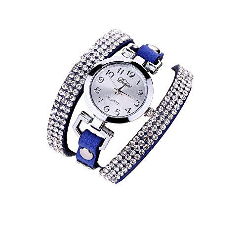 familizo-reloj-para-mujeres-casual-de-pulsera-piel-sintetica-de-diamante-azul