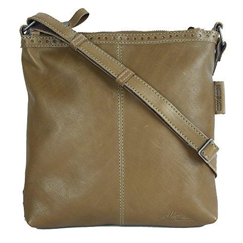 WouWou Damen Leder Handtasche Umhängetasche aus gewaschenem Vintage Rindsleder