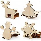 CLE DE TOUS - 40pcs Etiqueta de Madera Diseño Navideño árbol navidad, muñeco de nieve navideño, reno navideño,copo de nieve
