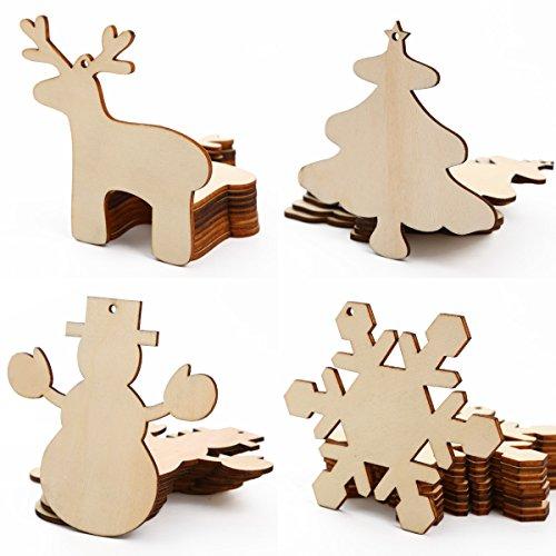 Solution for Sourcing 40 St. Weihnachtsanhänger Tannenschmuck DEKO Holz Elch/Schneeflocke/Schneemann/Weihnachtsbaum Weihnachten zum selbst bemalen ()