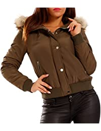 Women's Fleece Lined Bomber Jacket Aviator Jacket with Faux Fur Collar