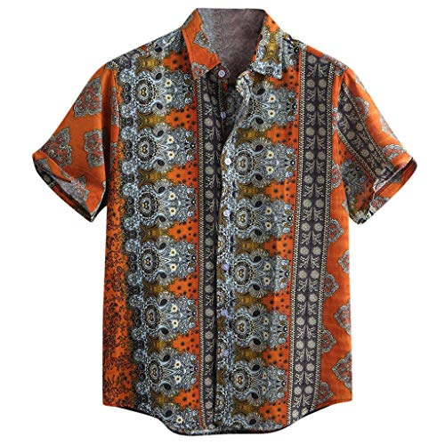 Knowin-Herren T-shirt Herren Revers Retro Hawaii Gedruckt Baumwolle Kurzarm Top Afrikanischer Musterdruck Breathable beiläufige Kurze Hülsen-lose Hemden -