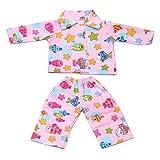 MagiDeal Puppen Pyjamas Schlafanzug Kleidung mit Fisch & Sterne Muster Für 18 Zoll Amerikanische Mädchen Puppen