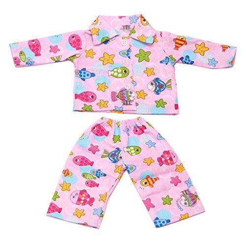 MagiDeal Puppen Pyjamas Schlafanzug Kleidung mit Fisch & Sterne Muster Für 18 Zoll Amerikanische Mädchen - Puppe Kleidung Muster