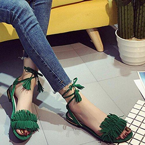Transer® Damen Flach Ankle-strap Sandalen Rot Schwarz Grün Leder+Gummi Niedrige Ferse Römersandalen mit Quaste Grün