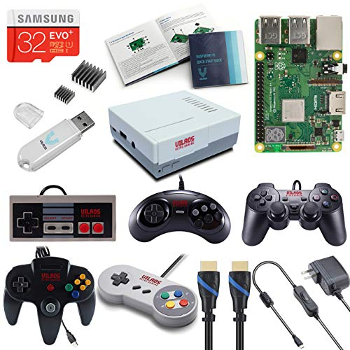 V-Kits Raspberry Pi 3 Modell B+ (B Plus) Retro Arcade Gaming Kit mit Multi Retro Gaming Controller Set - enthält: Retro Gaming Controller Set (NES-SNES-N64-PS2-SEGA GENASIS) - A/v-kit Modell