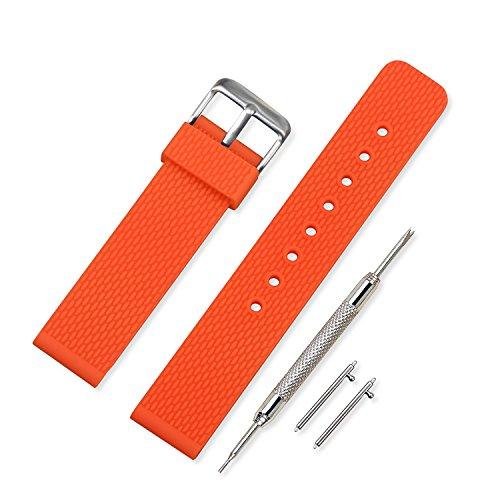 Vinband Uhrenarmband Hohe Qualität Wasserfest Ersatzarmband Gummi Armbanduhr Herren Damen Schwarz - 18mm, 20mm, 22mm, 24mm Kautschuk Uhrenband mit Schnellwechselstifte (24mm, Orange)