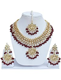 Jewels Gehna Antique Fashion Designer Gold Plated Kundan Necklace Set For Women & Girls
