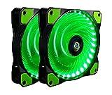 PC Lüfter,CONISY 120 mm LED Ultra Leise Gehäuselüfter für Computer Fällen Kühlerlüfter - Grüne (2pack)