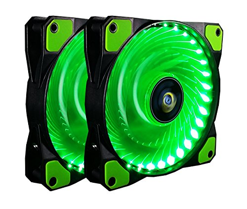 120mm PC Gehäuselüfter,CONISY 4pin Low Noise High Pressure Farbe LED Lüfter für Computer Fällen,2 Stueck pro Packung - Grüne