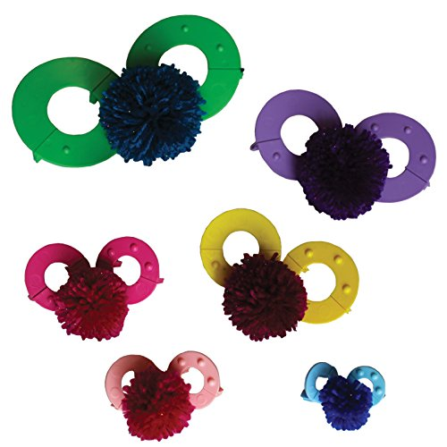 Kit 12 pezzi plastica per realizzare pon pon assortiti da curtzy - strumenti pon pon da 9, 7, 5.5, 4.5, 3.5 e 2.5cm - decorazioni, ghirlande, pendagli e altro- facili da usare- riutilizzabili