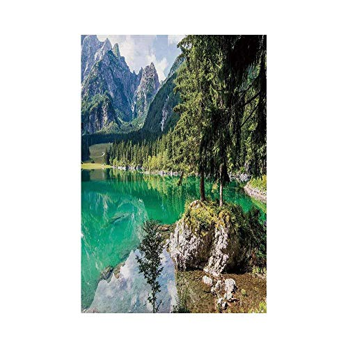 Cottage Garden Quilt (Liumiang Eco-Friendly Manual Custom Garden Flag Demonstration Flag Game Flag,Cottage Decor,Landscape of Alpine Lake Laghi di Fusine with Forest on Rocks and High Mountainecor décor)