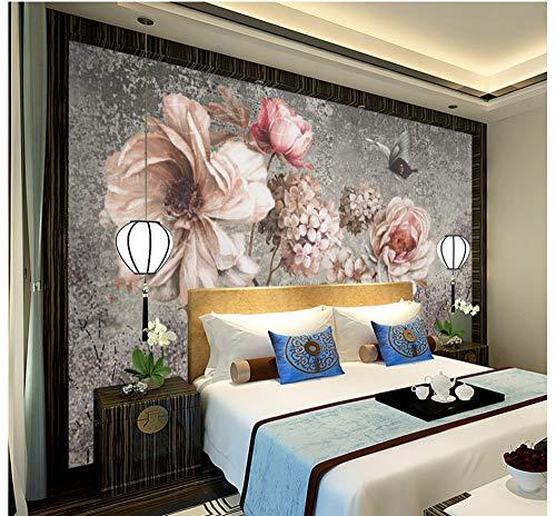 Fototapeten Wand Tapete Wohnzimmer Schlafzimmer-Nordic Vintage Ölgemälde Blume Wand Ölgemälde Rose Rose Dekorative Wandbild, 250 Cm X 175 Cm (98,4 X 68,9 In)