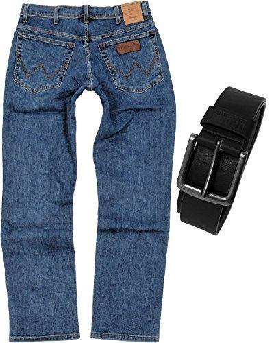 Wrangler TEXAS STRETCH Herren Jeans Regular Fit inkl. Gürtel (W42/L36, Stonewash)