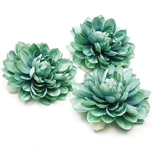 AUTBMP 10 stücke Neue hochwertige Seide dahlie künstliche Blume Kopf für Hochzeit Dekoration DIY Blume Wand Kopfschmuck brosche, Tiffany blau