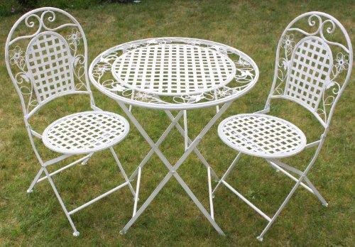 Maribelle - Gartenmöbel-Set - Runder Klapptisch & 2 Stühle - Florales Design - Weiß mit Antik-Finish
