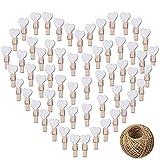 CozofLuv 100 Stk Mini Holzklammern Herz Klammern Holz Deko Klein Wäscheklammern Dekoklammern Plus 30 Meter Jute Bindfaden (Weiß)