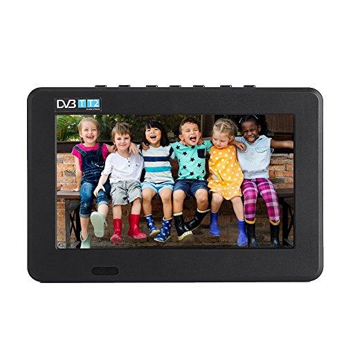 VBESTLIFE DVB-T-T2 Tragbarer Fernseher Digital Analog Fernsehen Portable TV,1024x600 Auflösung,RMVB/AVI/MPEG/MKV/MOV 1080P-Video, (7 Zoll)