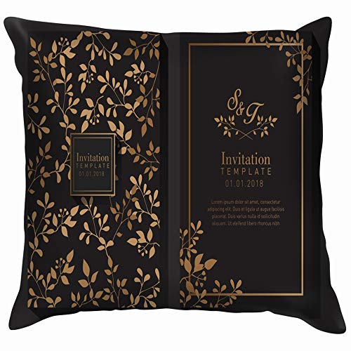 beautiful& Elegant Gold Invitation Funny Square Throw Pillow Cases Cushion Cover for Bedroom Living Room Decorative 18X18 Inch -