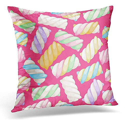 Xukmefat Decorative Pillow Cover Colorful Candy Marshmallow Twists Pastel Colored Sweet Chewy Candies Green Food Throw Kissenbezug Square Home Decor Pillowcase 18x18 Inches - Cotton Candy Twist